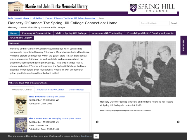 Screenshot of Flannery O'Connor Guide